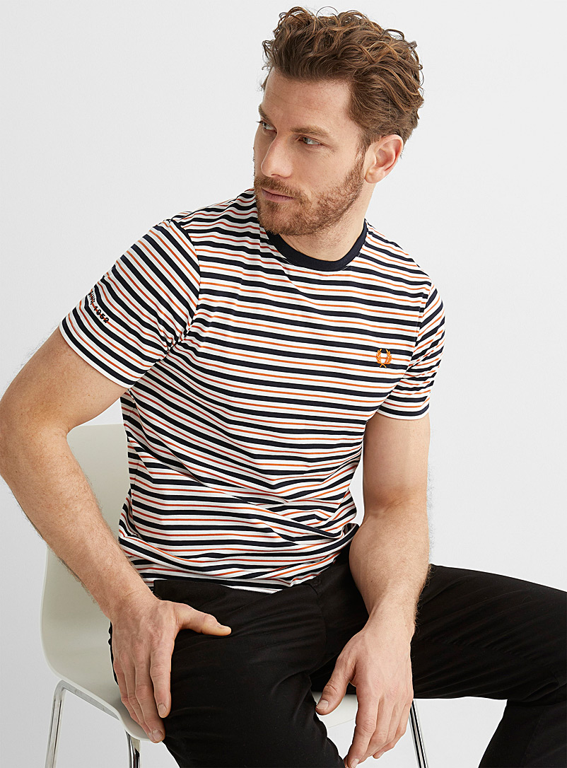 Fred Perry White Coloured accent-stripe T-shirt for men