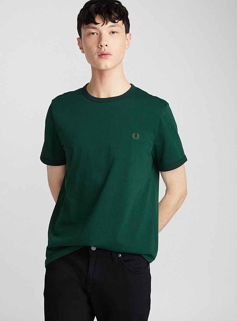 Contrast trim T-shirt - Short sleeves & 3/4 sleeves - Green