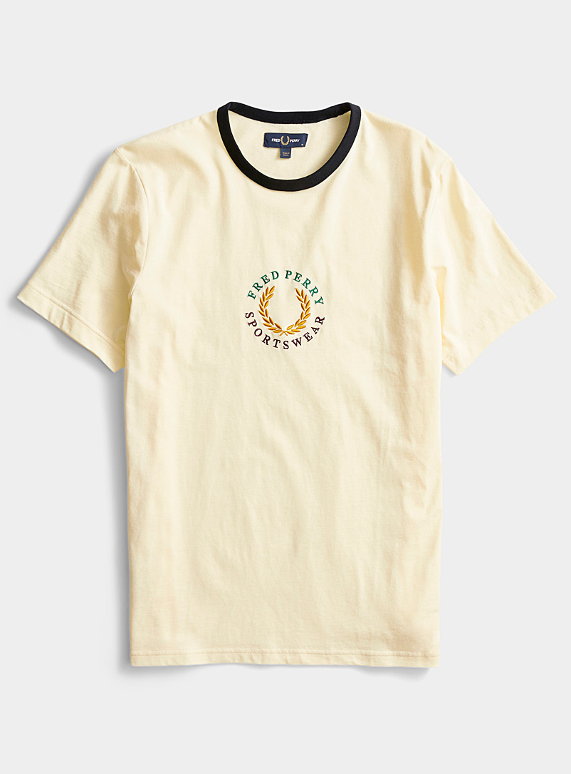Fred Perry Light Yellow Sportswear emblem T-shirt for men
