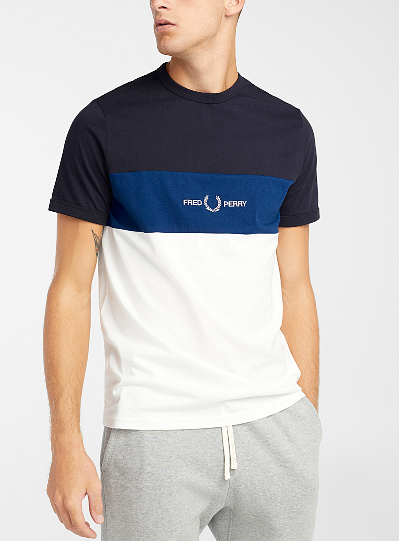 Fred Perry Marine Blue Tricolour signature T-shirt for men