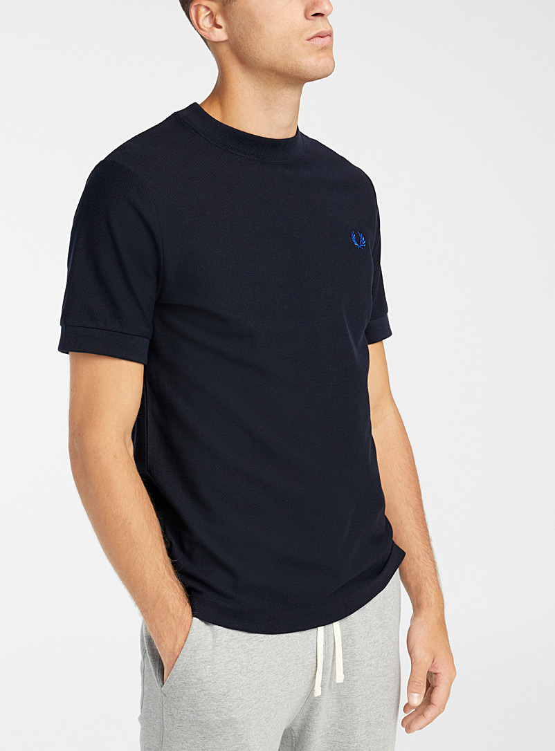 Fred Perry Marine Blue Geo piqué T-shirt for men
