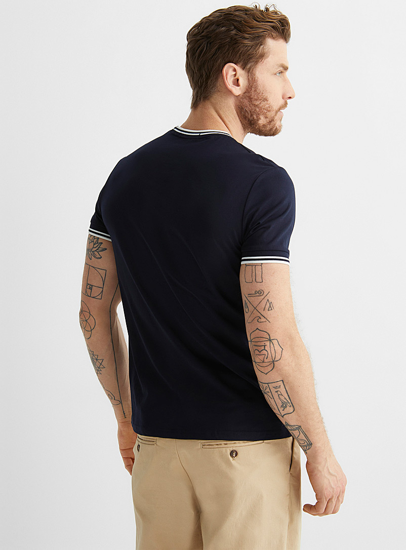 Fred Perry Black Ribbed trim T-shirt for men