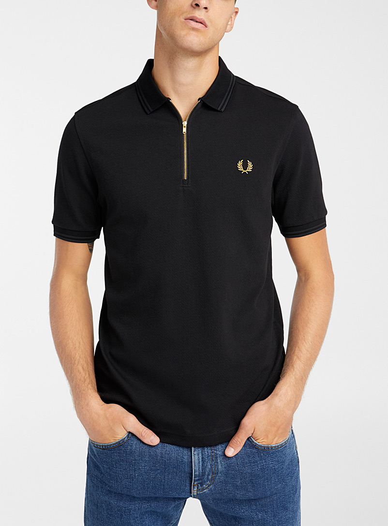 Fred Perry Black Zip-neck polo for men