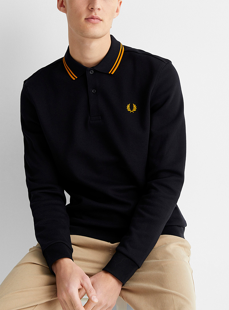 Fred Perry Black Piqué polo sweatshirt for men