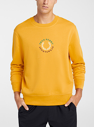 Fred Perry Golden Yellow Tricolour emblem sweatshirt for men