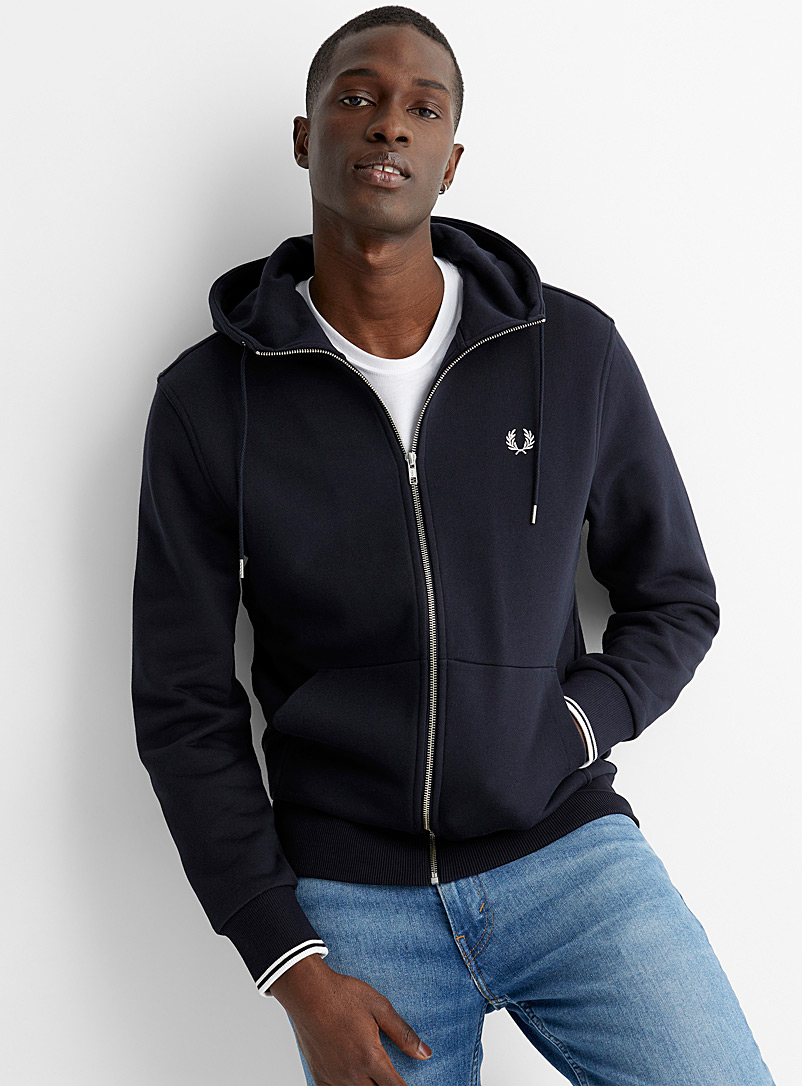 Fred Perry Marine Blue Embroidered emblem zip hoodie for men