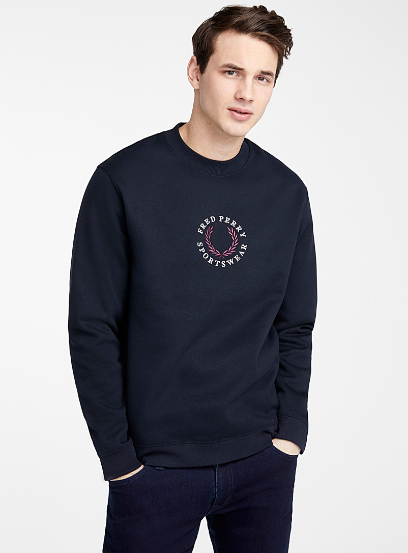 Fred Perry Marine Blue Embroidered logo sweatshirt for men