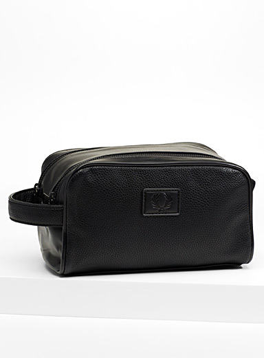 Grained faux-leather travel kit