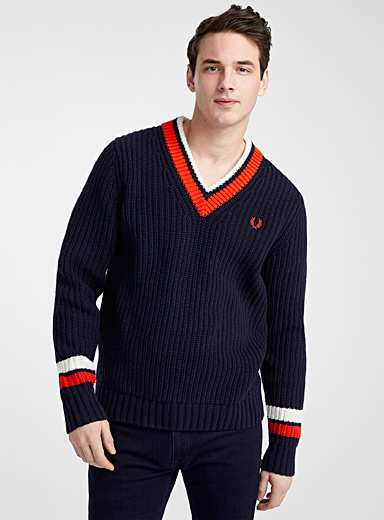 Fred Perry Marine Blue Ribbed preppy sweater for men