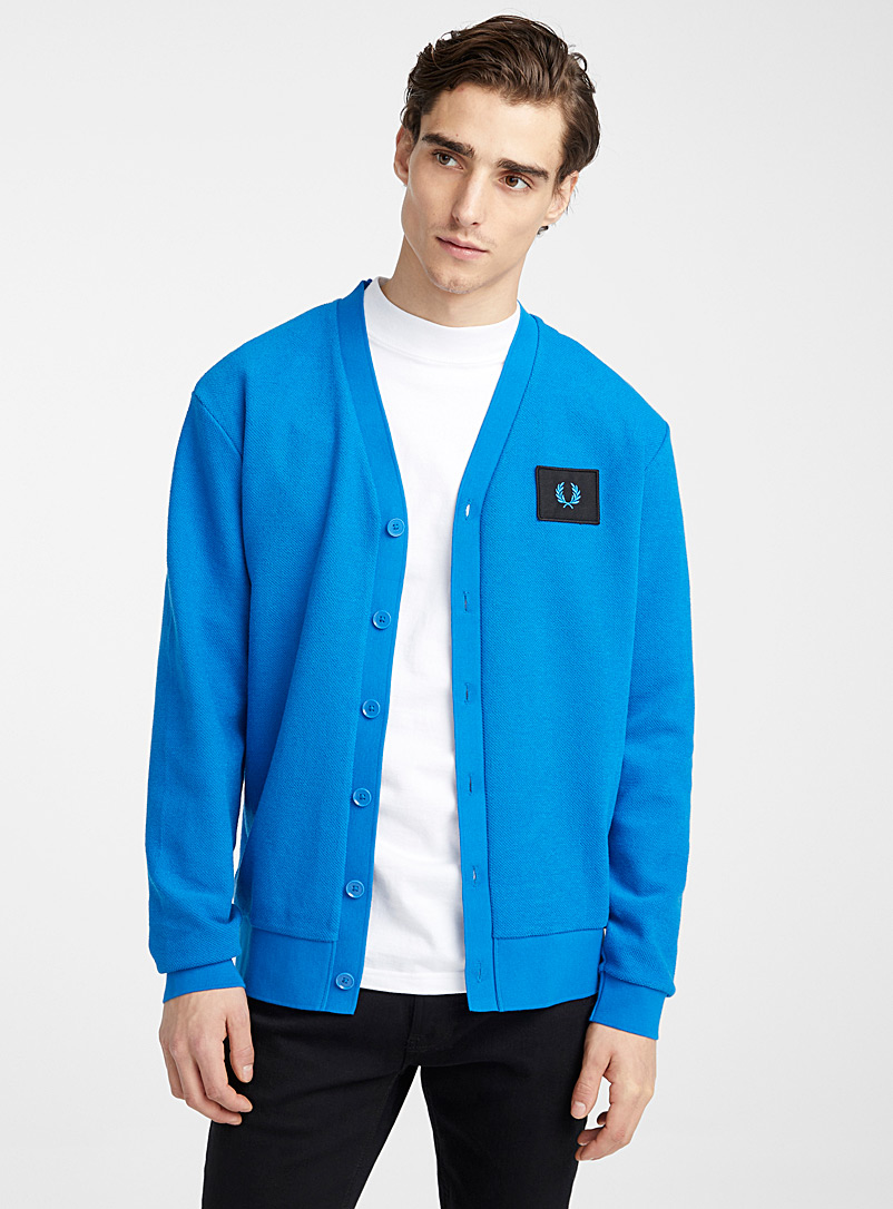 Fred Perry Blue Bright blue cardigan for men
