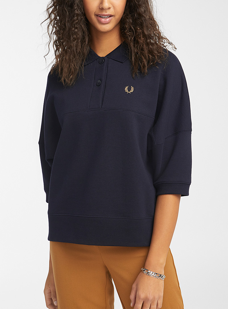 Fred Perry Marine Blue Loose embroidered-logo polo for women