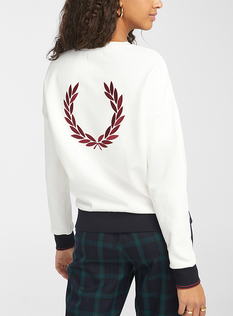 Fred Perry White Foliage crown sweatshirt for women