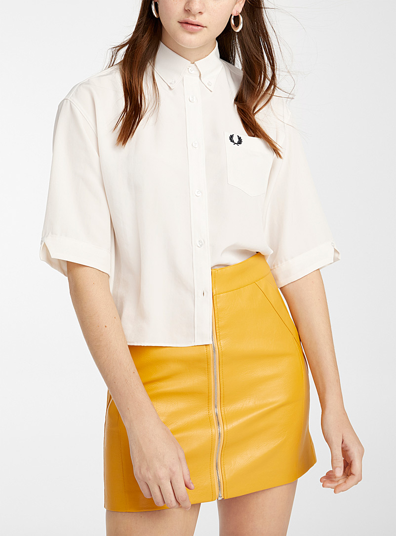 Fred Perry: La chemise ample droite broderie signature Ivoire blanc os pour femme
