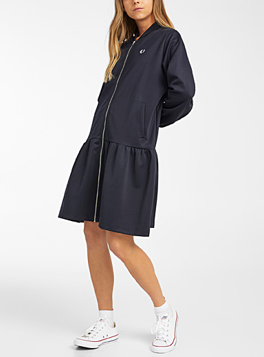 Fred Perry Marine Blue Zipped bomber jacket dress for women