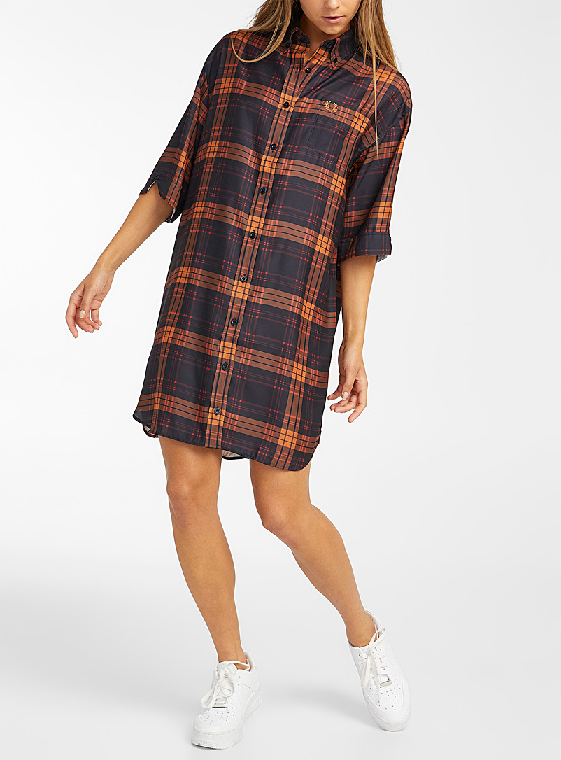 Fred Perry Marine Blue Warm check shirtdress for women