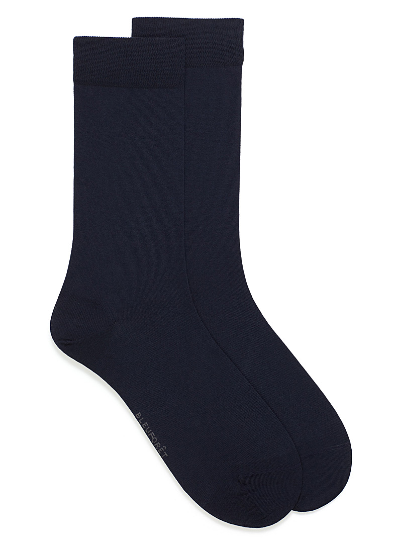 Bleuforêt Marine Blue Seamless Egyptian cotton socks for men