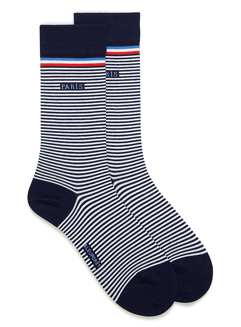 Bleuforêt Patterned Blue Sailor stripe Paris socks for men