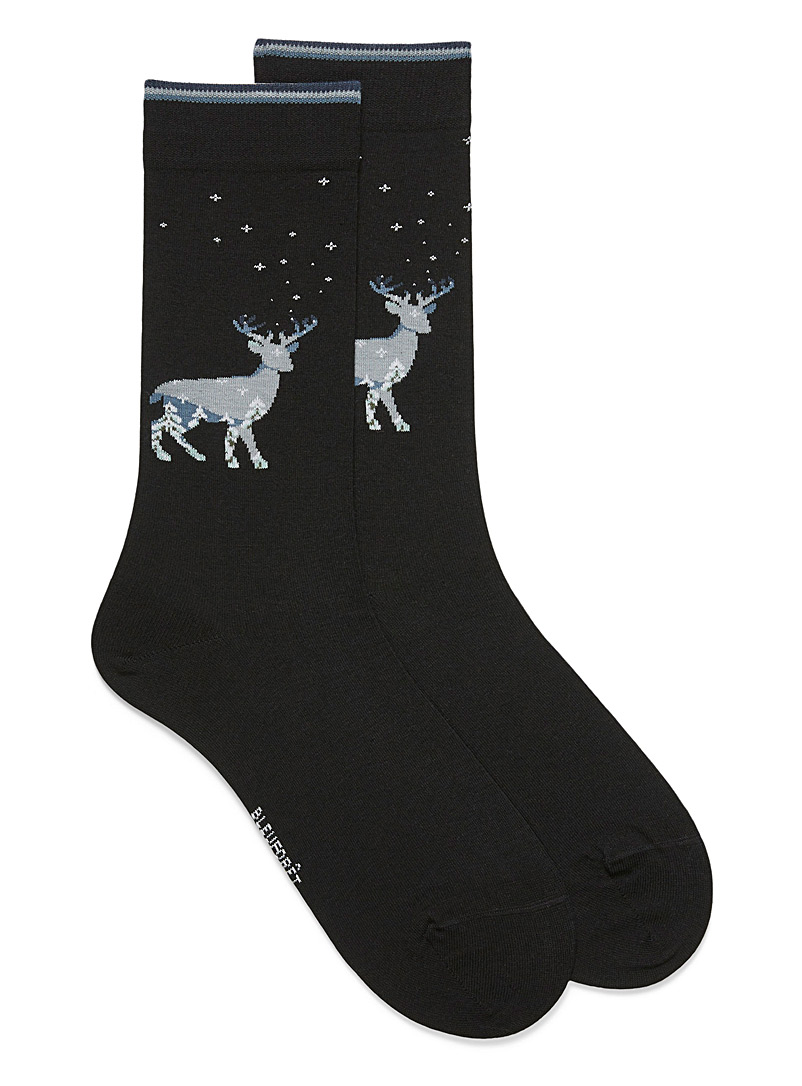 Winter deer socks - Dressy socks - Black