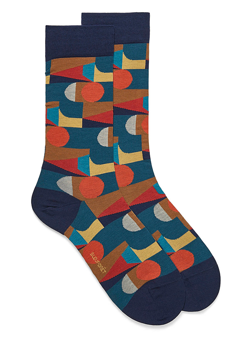Bauhaus mosaic socks - Dressy socks - Patterned Blue