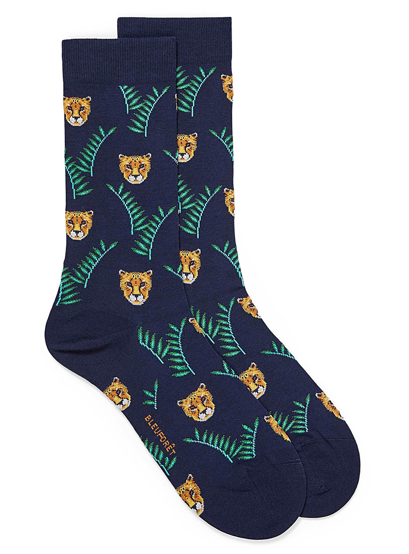 Bleuforêt Patterned Blue Foliage and cheetah dress socks for men