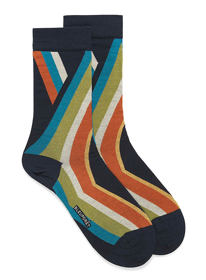 Diagonal stripe dress socks