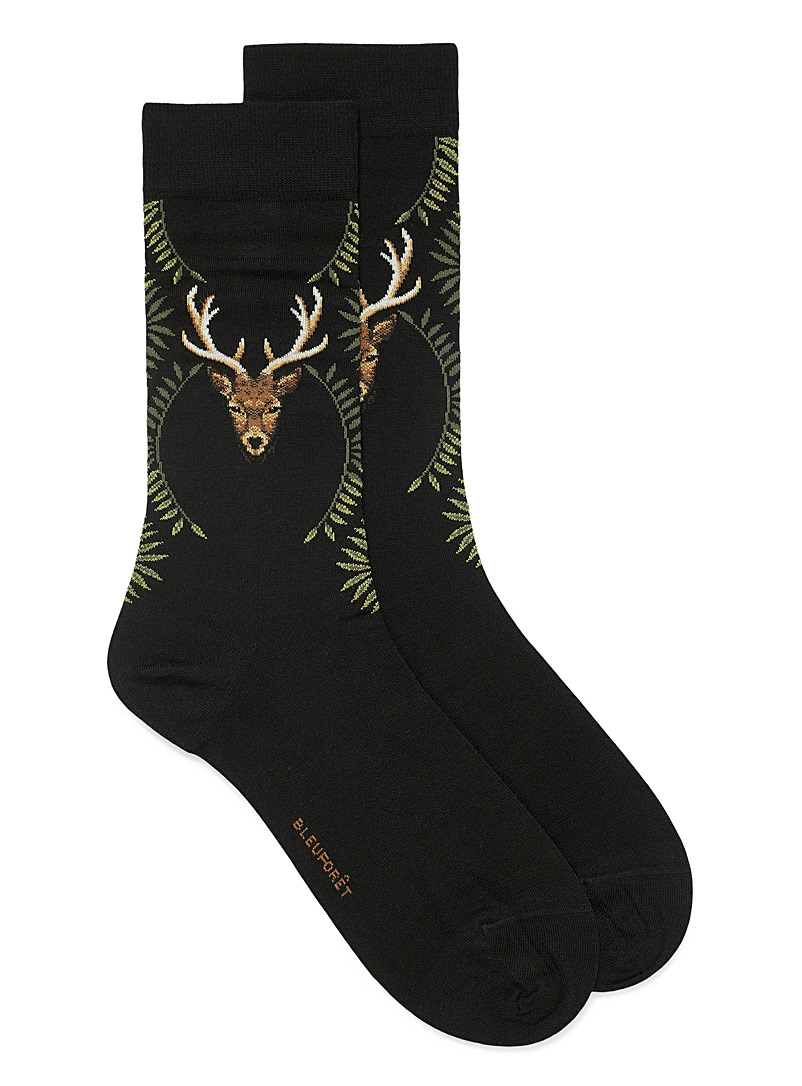 Bleuforêt Patterned Black Laurel deer head socks for men