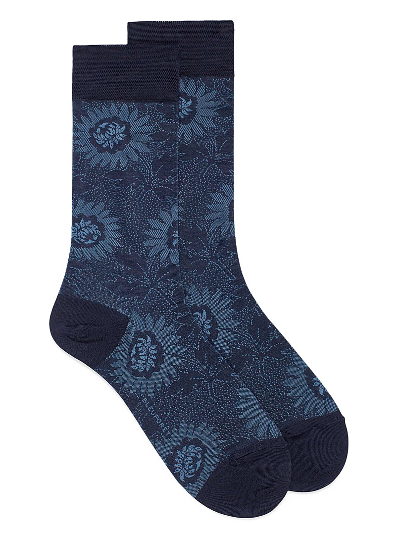 Bleuforêt Patterned Blue Sunflower lisle socks for men