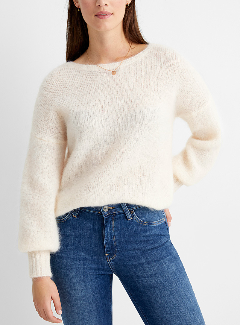 Des Petits Hauts Ecru/Linen Puff-sleeve mohair sweater for women