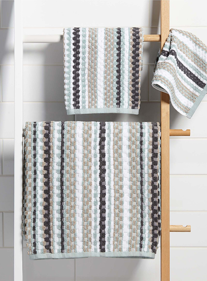 Pastel stripe waffle towels - Bath Towels - Baby Blue