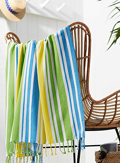 "Tropical stripe beach blanket  60""e; x 60""e;"