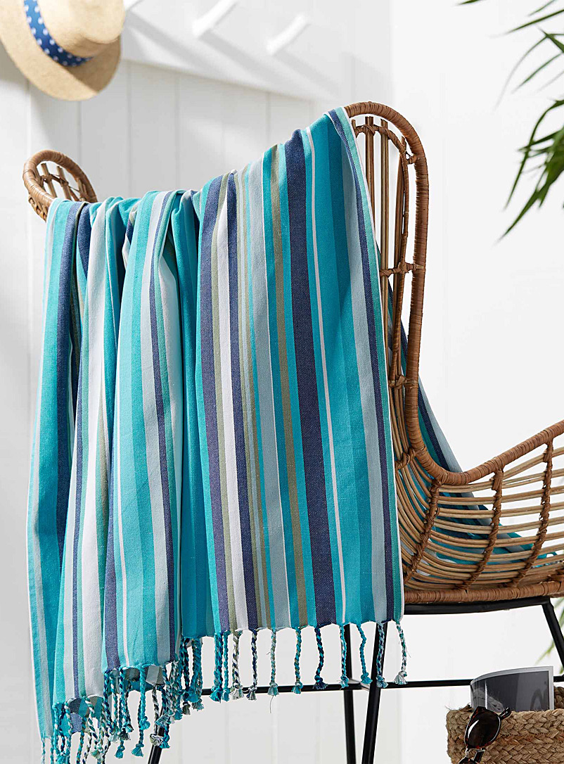 Tropical stripe beach blanket  60&quote; x 60&quote; - Bath Sheets & Beach Towels - Blue