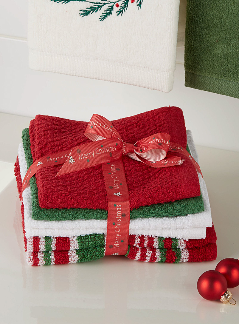 Simons Maison Red Christmas stripe facecloths  Set of 6