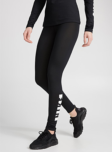 Coated logo band textured legging