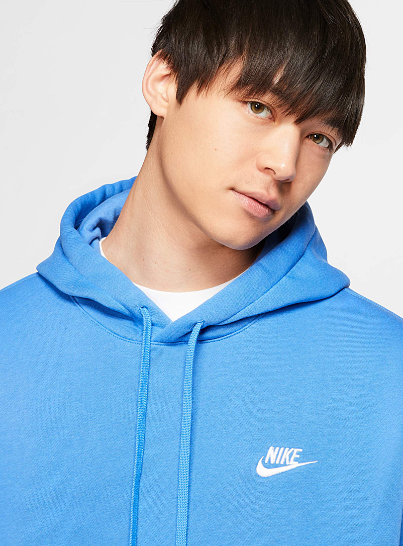 Nike Blue Embroidered Swoosh hoodie for men