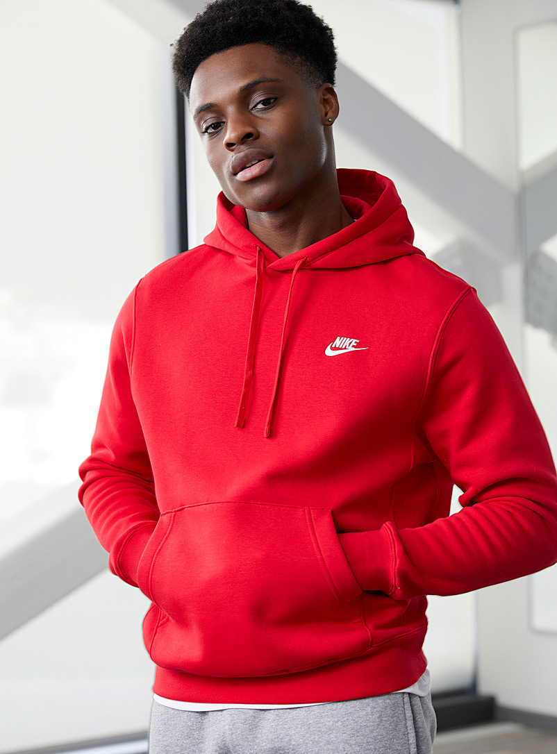 Nike Red Embroidered Swoosh hoodie for men