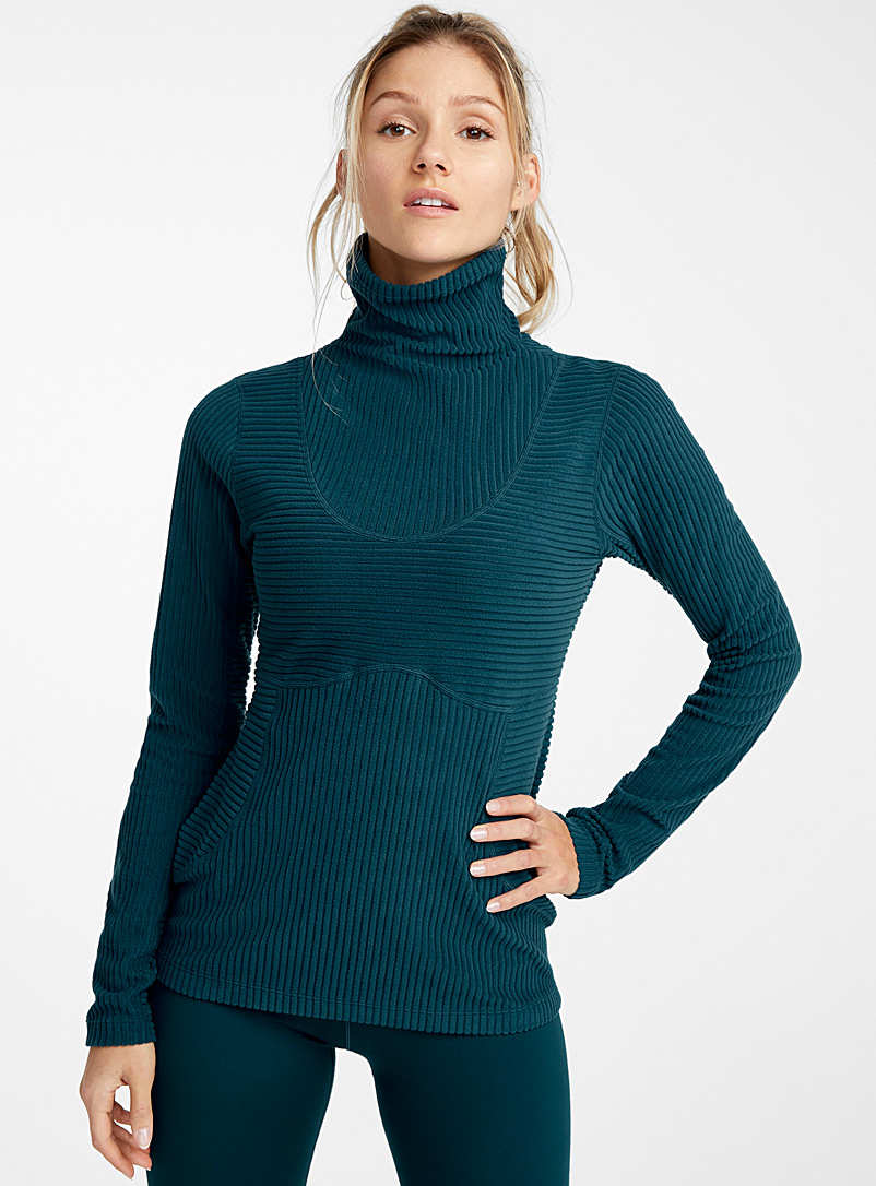Stretch corduroy high neck - Sweatshirts - Teal