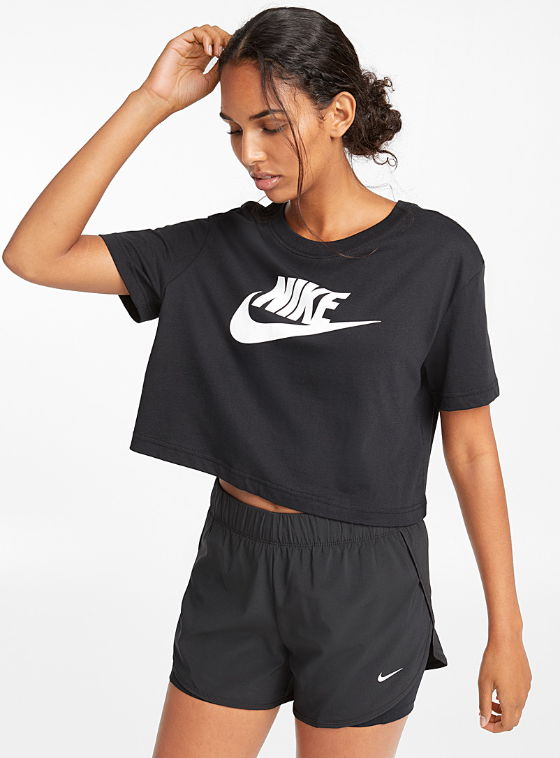Nike Black Contrast logo cropped tee for women