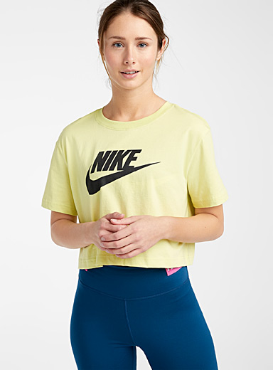 Nike Lime Green Contrast logo cropped tee for women