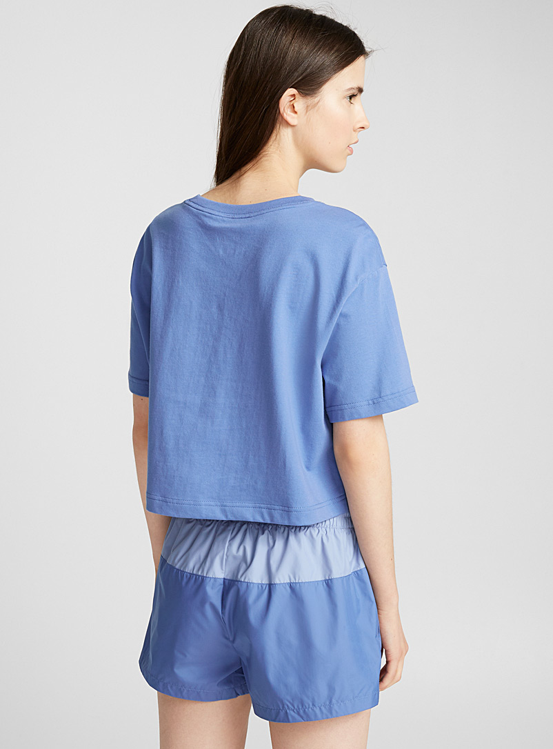 Contrast logo cropped tee - T-shirts - Blue