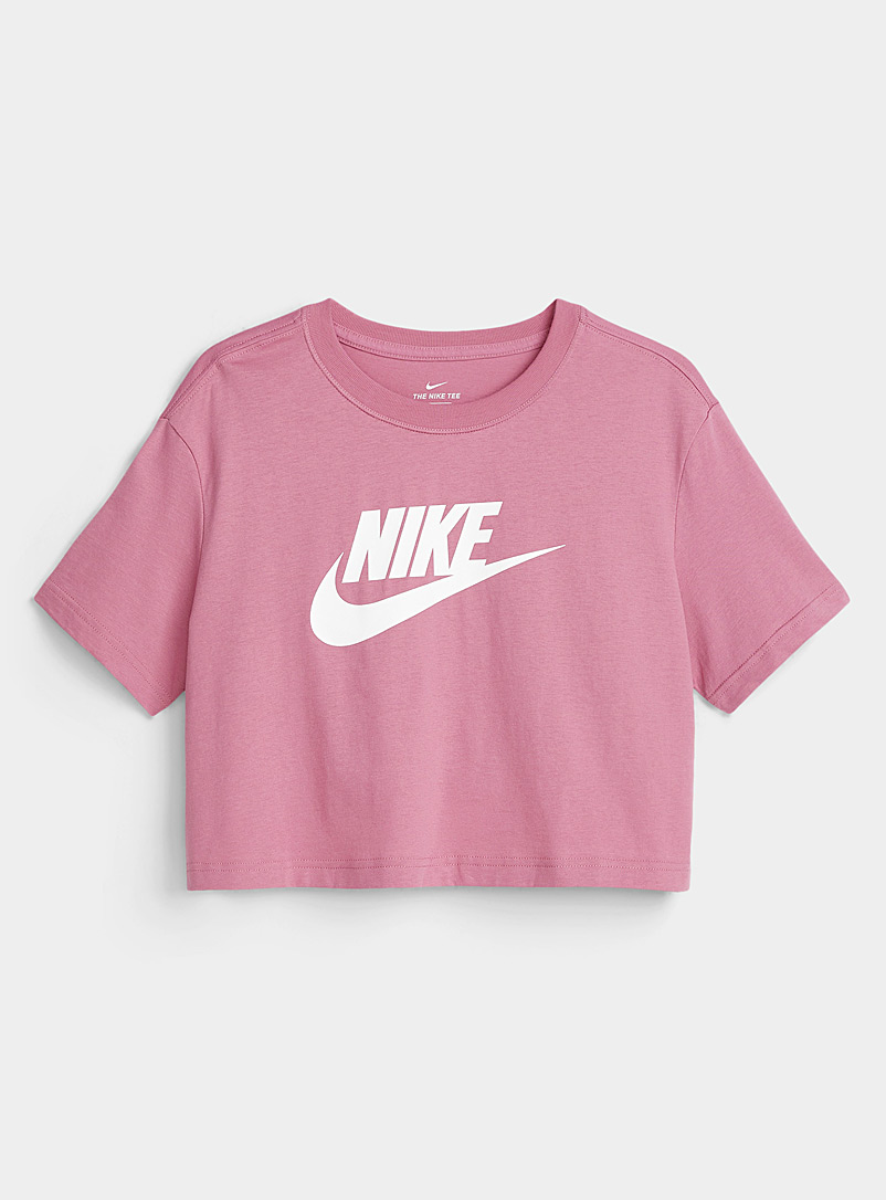 Nike Medium Pink Contrast logo cropped tee for women