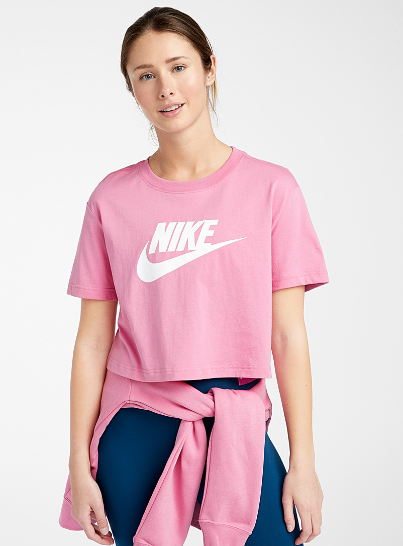 Nike Pink Contrast logo cropped tee for women