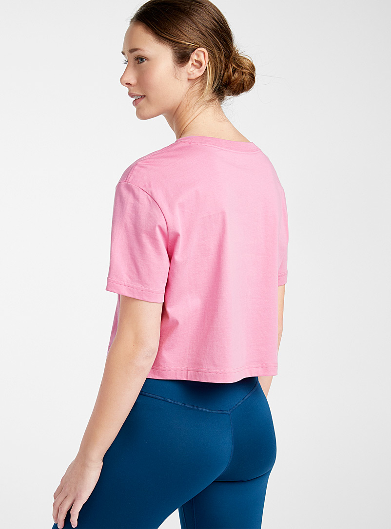 Contrast logo cropped tee - T-shirts - Pink