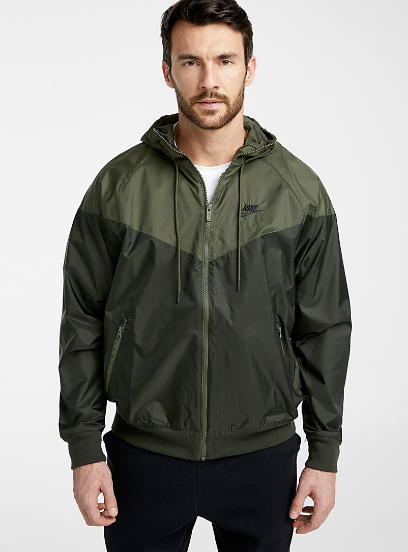 Nike Khaki Topstitched block windbreaker jacket for men