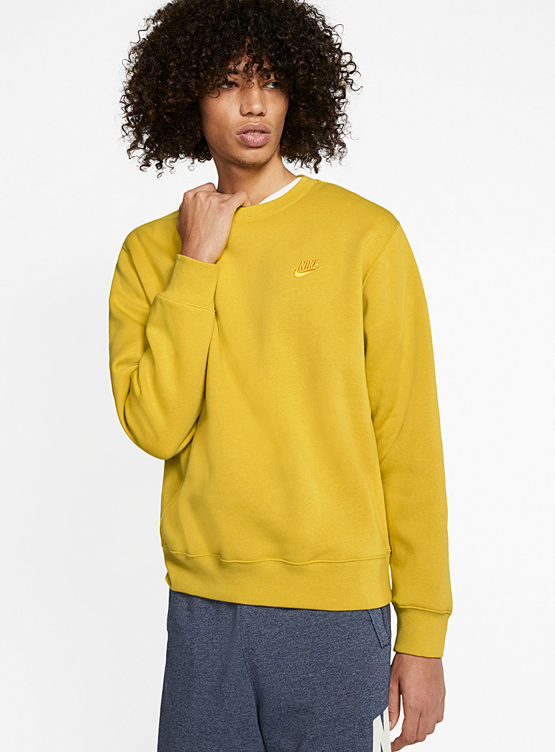 Nike Golden Yellow Soft embroidered fleece sweatshirt for men