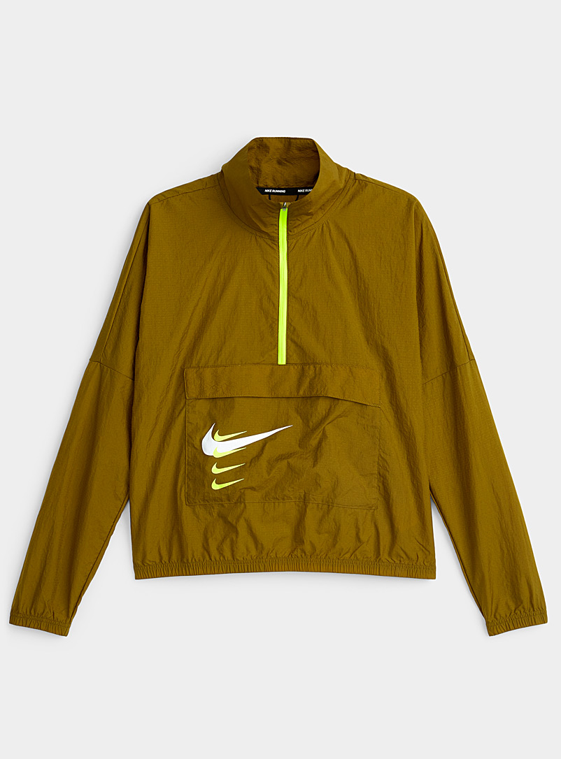 Nike Mossy Green Multi-Swoosh pocket cropped windbreaker for women