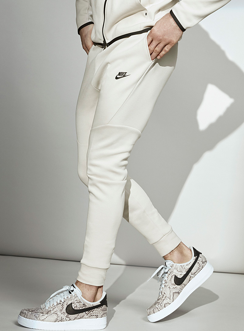 Nike Ivory White Tech Fleece angular seam joggers for men