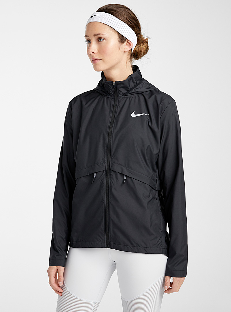 Nike Black Lightweight herringbone-pocket windbreaker for women