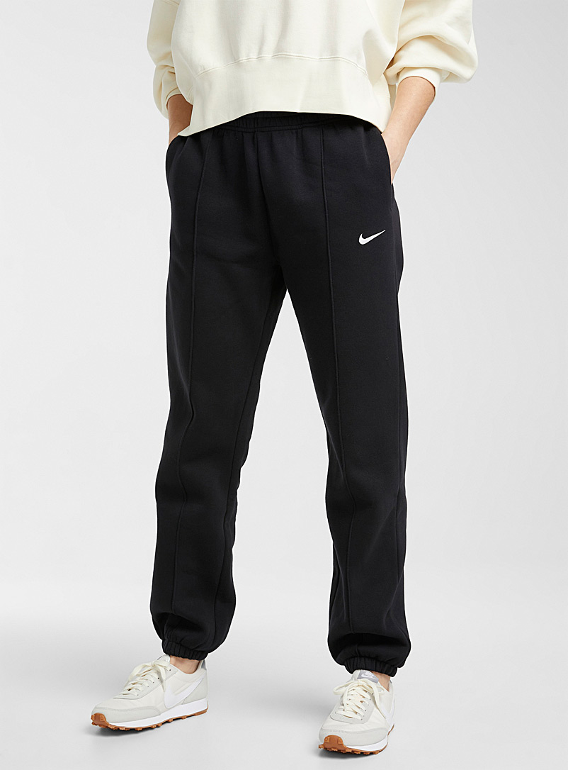 Topstitched cotton fleece joggers