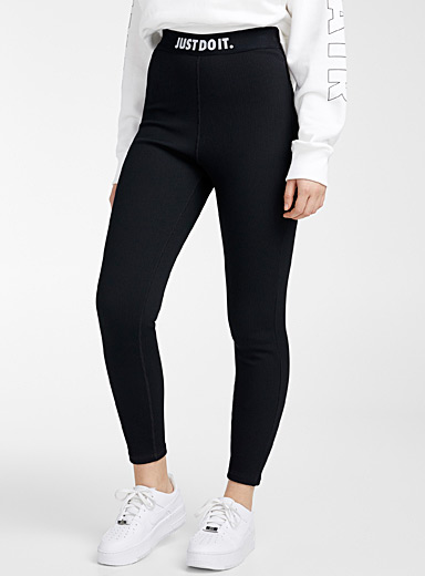 Crossed band ribbed legging
