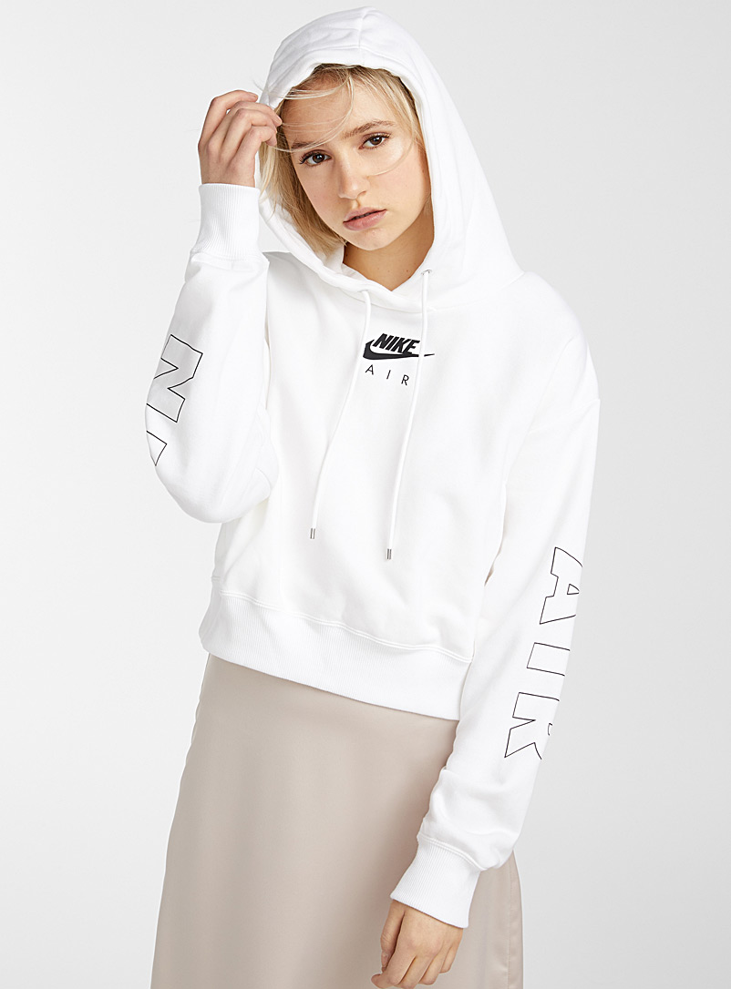 Nike White Cropped logo hoodie for women